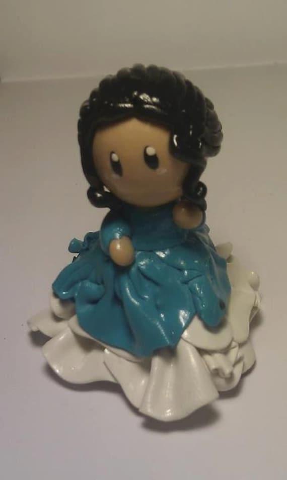CHIBI: Original Lady in Waiting BLUE Victorian Kawaii dress polymer clay figurine