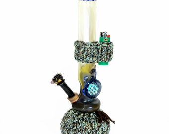 Knit 'Waterpipe Cozy' and 'Lighter Holder' Set, Bong Bootie, MOUNTAIN AIR