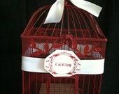 Wedding Card Holder,  Birdcage Card Holder, Bright Red finish, Classic Chic Wedding