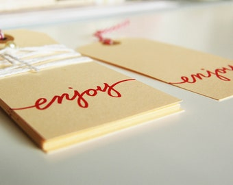 "10 Large Handwritten Cursive Gift Tags (""Enjoy"")"