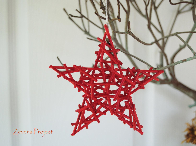 Red Star Natural Christmas Ornaments Holiday Decor Set