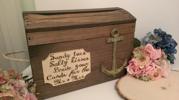 Nautical Wedding Gift Card Holder : beach wedding card box anchor wedding reception card box nautical