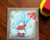Kids wall art. Nursery art. Red and blue Rabbit, original illustration.