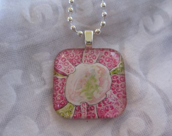 Pink jewel flower - glass pendant and chain