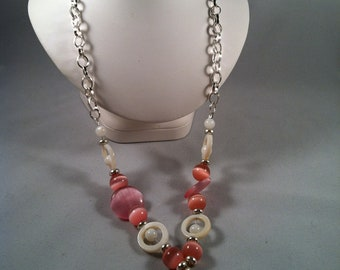 Chunky pink Necklace - Silver Chain Necklace - Affordable Beaded Jewelry - Gifts for Her - Jewelry Gift - Cats Eye