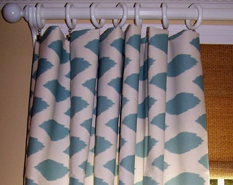 "BLUE IKAT CURTAINS Spa Blue & Natural Premier Fabric Custom Curtain Panel 24"" Wide Or 50"" Wide Bold Geometric Grommet Blackout Options"