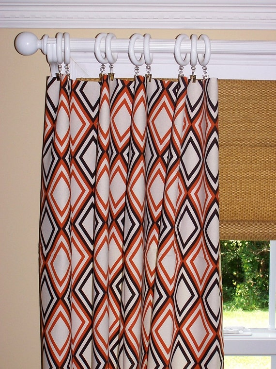 Items Similar To Curtains Orange Brown Geometric Diamonds