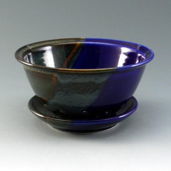 Pottery Berry Bowl Colander Blue Brown Porcelain by Mark Hudak