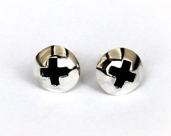 Small Silver Screw  Stud Earrings .