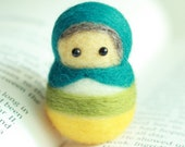 Russian Doll Needle Felted Handmade Wool - Peacock blue - Christmas Ornament - Needle felting Russian doll - Ready To Ship