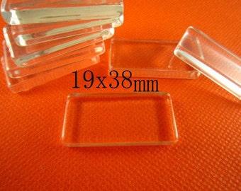 20pcs 19x38mm glass cabochon rectangle flat glass titles