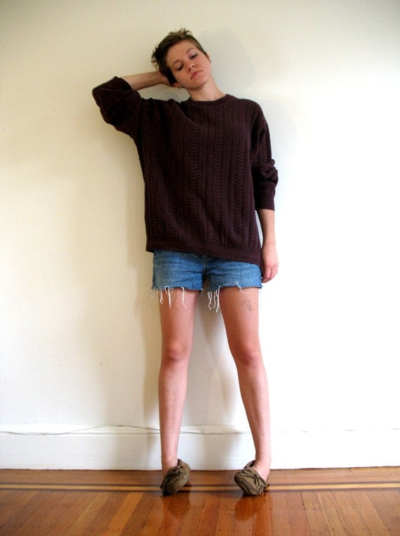 Heavy Maroon Cotton 90's Cable Knit Sweater
