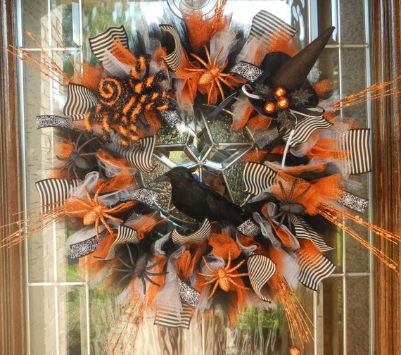 Spooky Black Crow Orange Halloween Wreath