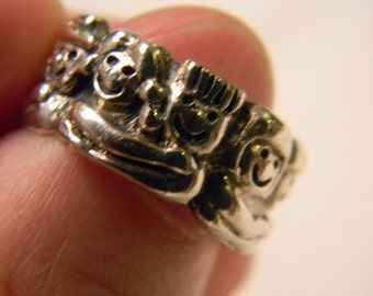 Theme Jewelry Unusual 925 Sterling Silver 10 Children Band Ring Size 7 #3365