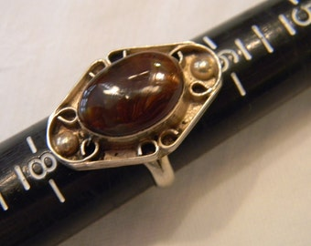 Timeless Hand Made Fashion Fun 925 Sterling Silver Brown Stone Ring Size 7 #3352