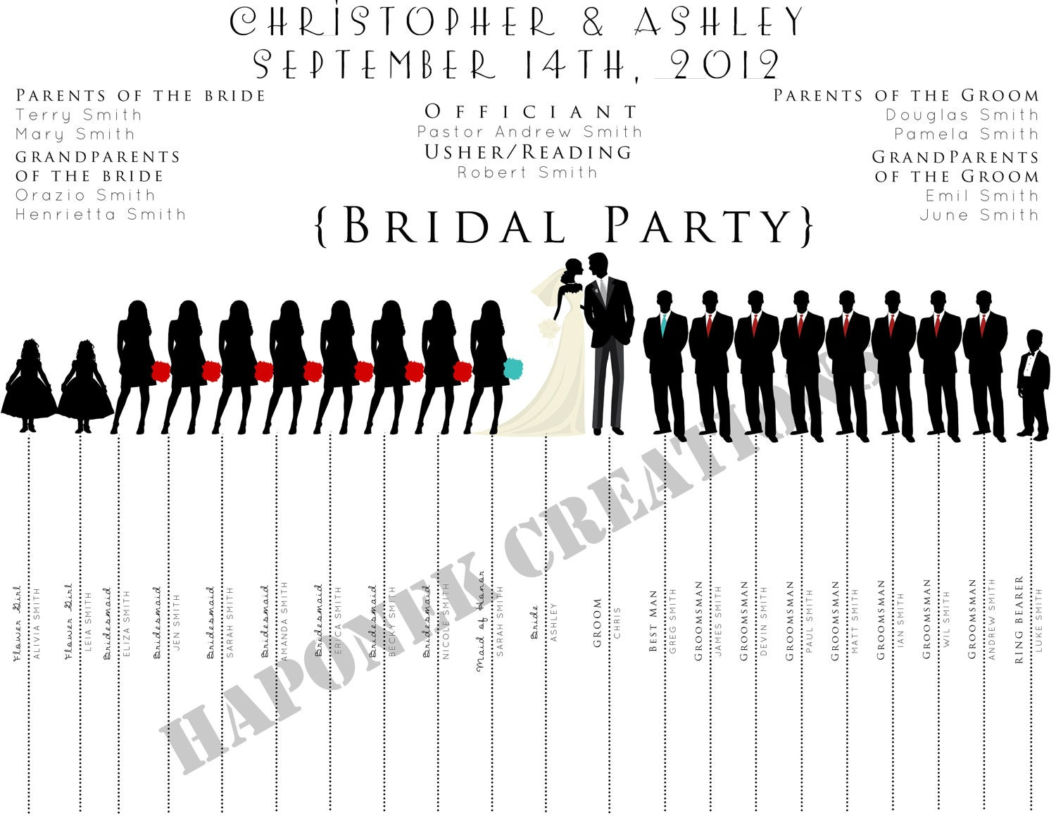 items similar to fun wedding program wedding party silhouette template on etsy. Black Bedroom Furniture Sets. Home Design Ideas