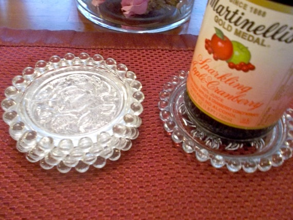 Lovely set of hobnail glass rose coasters and wine holder
