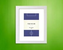 "Book Clubs: ""Peterborough"" A4 Football Print in blue."