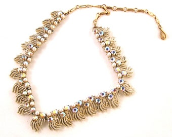 Vintage Gold Necklace with Iridescent Stones