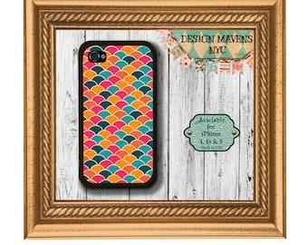 Colorful scallops iPhone Case, Hard Plastic iPhone Case, Fits iPhone 4, iPhone 4s & iPhone 5