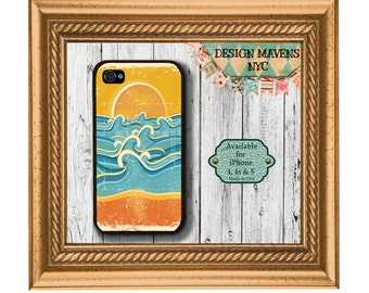 Sun and Surf iPhone Case, Beach iPhone Case, Summer iPhone Case, iPhone 5, 5s, 5c, 4, 4s, iPhone 6, 6s, 6 Plus, SE, iPhone 7, 7 Plus