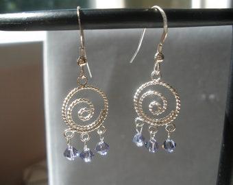 sterling silver tanzanite swarovski crystal earrings