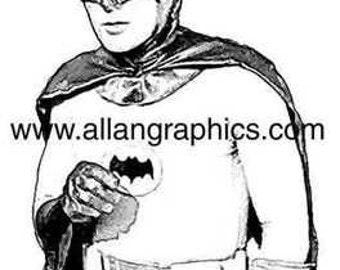 Rare Batman Portrait Adam West sketch style art print
