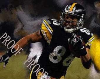 Hines Ward MVP Oil Style Art Steelers 12x18 rare LE 50