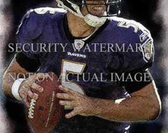 New Joe Flacco Baltimore Ravens Art Lithograph only 50