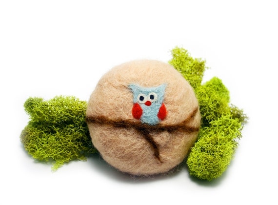 Owl on a Branch ---- Needle Felted Soap Tan wool background with blue ...