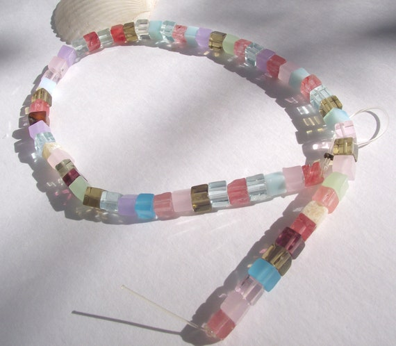 Quartz Glass Assorted  cube shaped beads supplies full strand