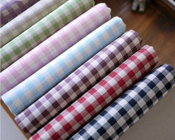 Items similar to Gingham Check Plaid Fabric by the Yard