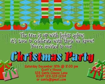 Printable Digital Christmas Party Invitation - You Print DIGITAL FILE
