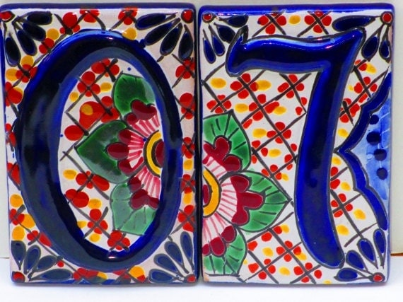 house numbers spanish tile colorful tile home decor mexican hand painted tiles
