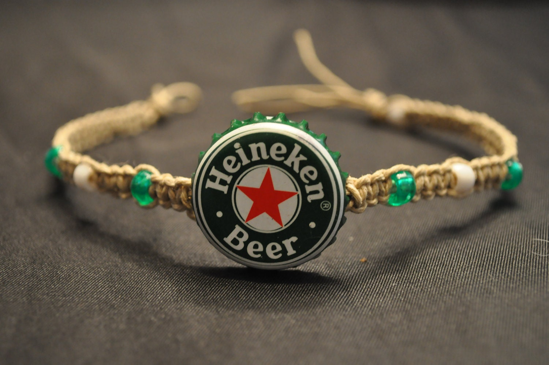 Green and white heineken recycled beer cap hemp anklet great - Beer bottle caps recyclable ...