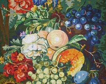 "Needlework Patterns, Needlepoint Designs, Needlepoint Fruit, Needlework Fruit, Royal Paris 158.106 ""Somptuosite d'apres Jacobus Linthorst"""