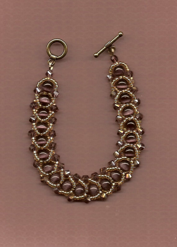 swarovski woven beaded bracelet purple by nathalielanejewelry