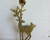 Upcycled Vintage Deer Charm Necklace with Horological Discs