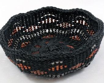 Baskets, waxed linen, woven, weaving, contemporary, art, fiber art,  home decor, beads. black