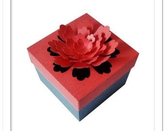 3D Pop out flower box cutting files templates in SVG, DXF, PDF formats