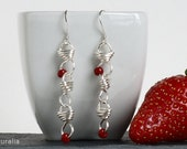Silver plated dangle earrings with red beads