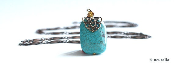 Long turquoise pendant necklace with swarovski