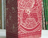 Hand-printed Rocking Horse recycled Notebook