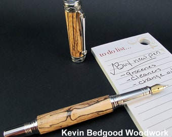 Pen Fountain Spalted Pecan Custom Fine Writing Instrument, wood pen