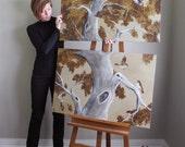 Autumn Tree Painting set, canvas original, HUGE wall art, 36x48