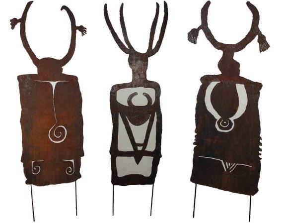 Shaman petroglyph rustic sheet metal art made-to-order