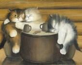 Happy Life N.1 - Kitten / Cat Art,  Print from Original Oil Cat Painting, Fun Cats, Cute Cats,  Bar Accessory Decor