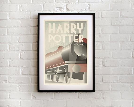 harry potter film poster art deco modern art print. Black Bedroom Furniture Sets. Home Design Ideas