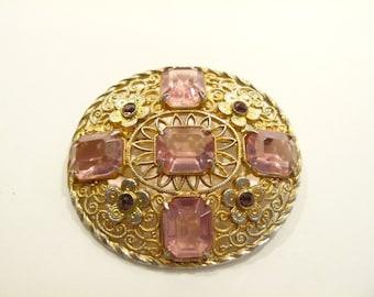 Beautiful Vintage Ornate Pale Faux Amethyst Stone Brooch / Pin