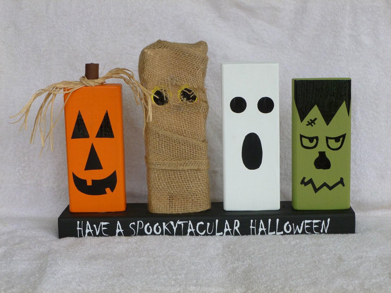 Wood Block Halloween Decoration With Pumpkin Mummy Ghost